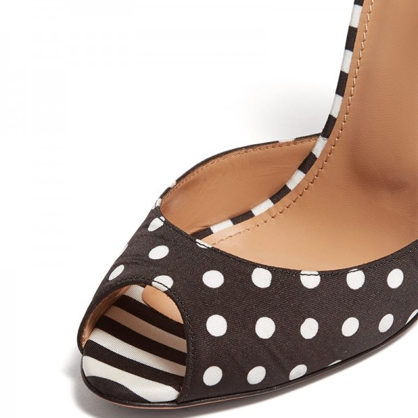 Black Satin Polka Dots Floral Bow Peep Toe Heels Pumps image 2