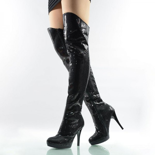 Black Sequin Boots Closed Toe Over-the-Knee Stripper Boots image 1