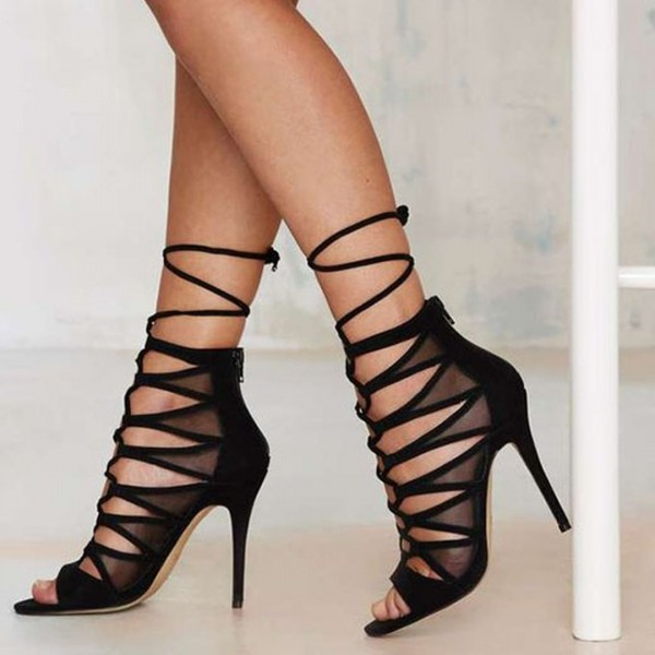 Black Mesh Lace up Strappy Sandals Open Toe Stiletto Heels image 1