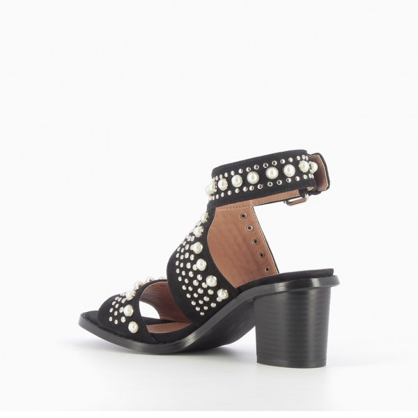 Black Studs Chunky Heel Sandals Pearls Slingback Comfortable Sandals image 3
