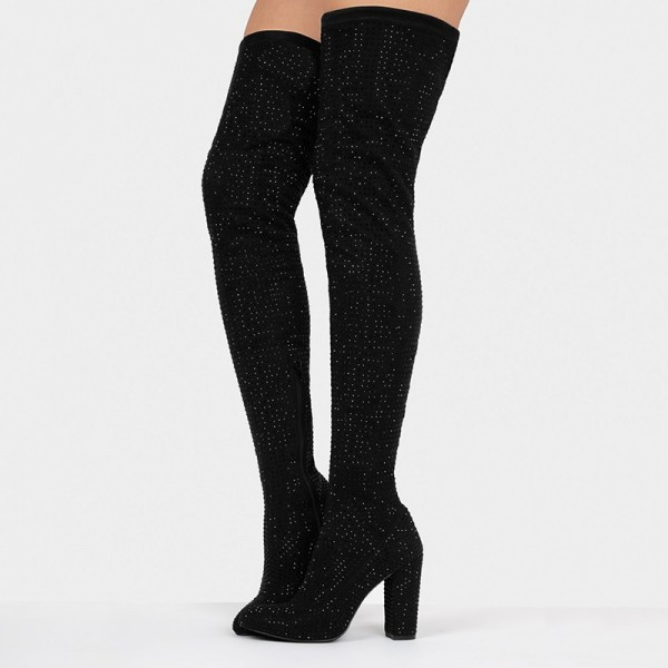 Black Suede Boots Rhinestone Chunky Heel Thigh High Boots  image 5