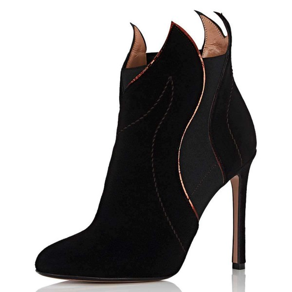 Black Suede Stiletto Heel Fashion Ankle Booties image 1