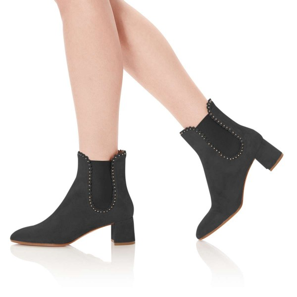 Black Suede Studs Chelsea Boots Chunky Heel Ankle Boots image 2