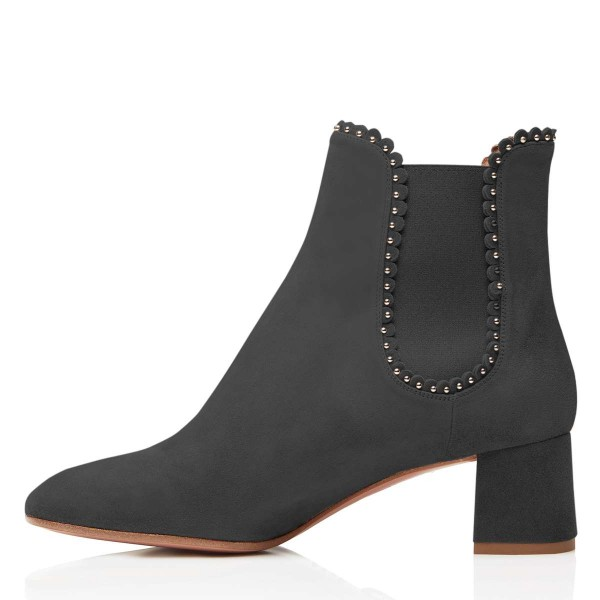 Black Suede Studs Chelsea Boots Chunky Heel Ankle Boots image 3