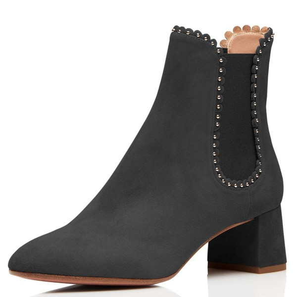 Black Suede Studs Chelsea Boots Chunky Heel Ankle Boots image 1