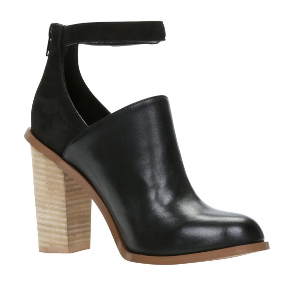 Black Heeled Boots Retro Ankle Strap Chunky Heel Ankle Boots image 3
