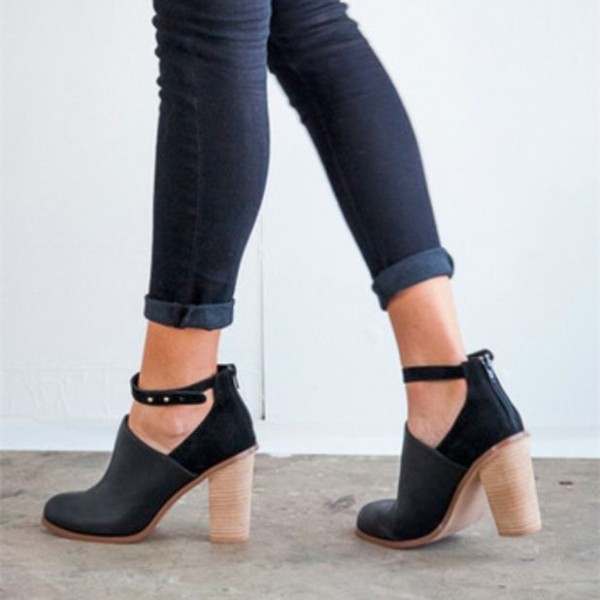 Black Heeled Boots Retro Ankle Strap Chunky Heel Ankle Boots image 6