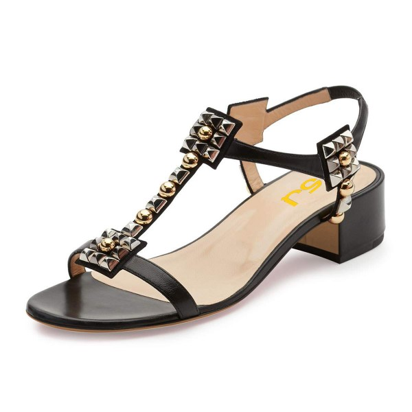 Black T Strap Sandals Open Toe Chunky Heels Sandals image 1