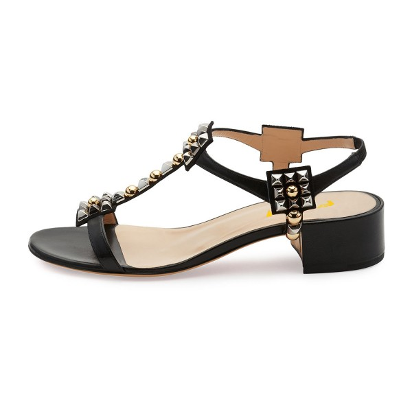 Black T Strap Sandals Open Toe Chunky Heels Sandals image 3