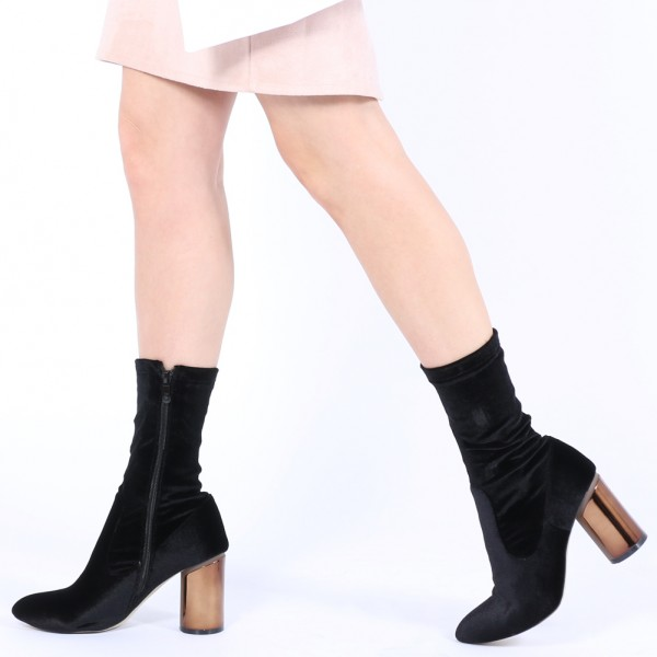 Black Velvet Boots Cylindrical Heel Fashion Ankle Boots image 1