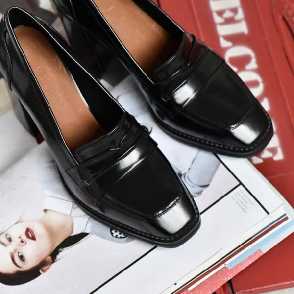 Black Block Heel Square Toe Heeled Loafers for Women image 2