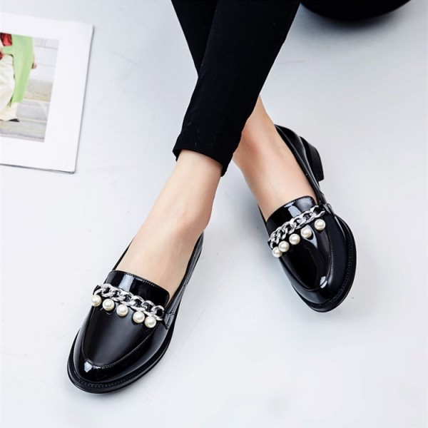 Black Patent Leather Pearls Loafers for