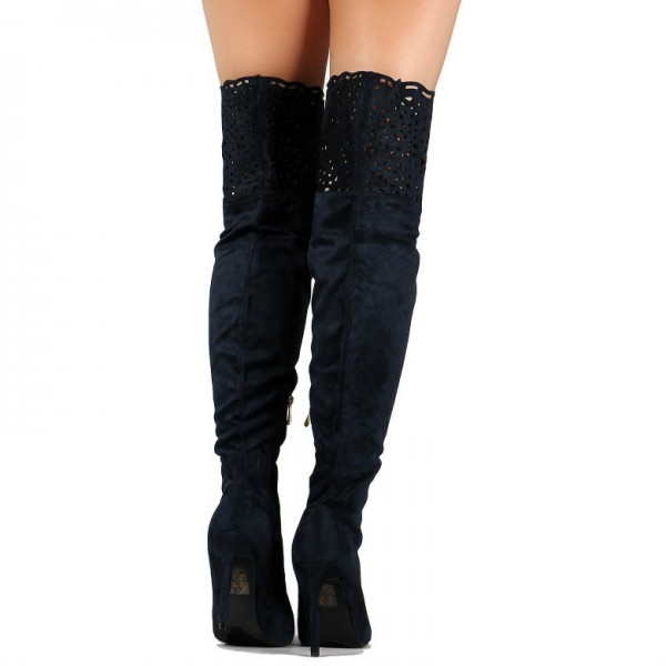Black Laser Cut Thigh High Heel Boots Suede Stiletto Heel Long Boots image 2
