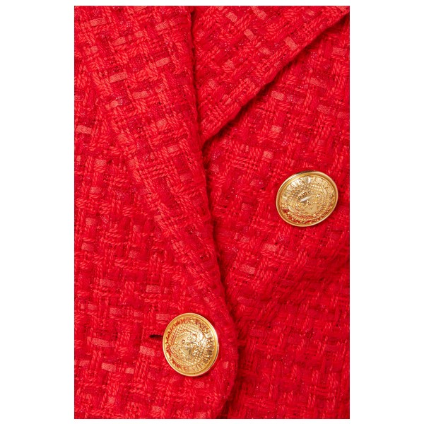 Women's Coral Red Double-breasted Fashion Blazer image 4