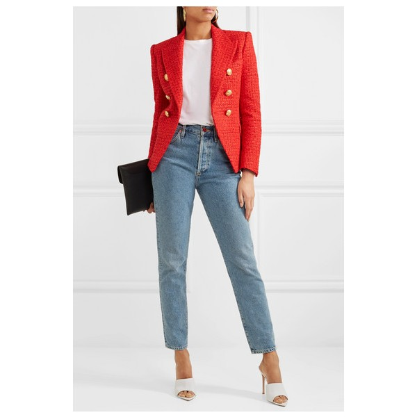 Women's Coral Red Double-breasted Fashion Blazer image 2