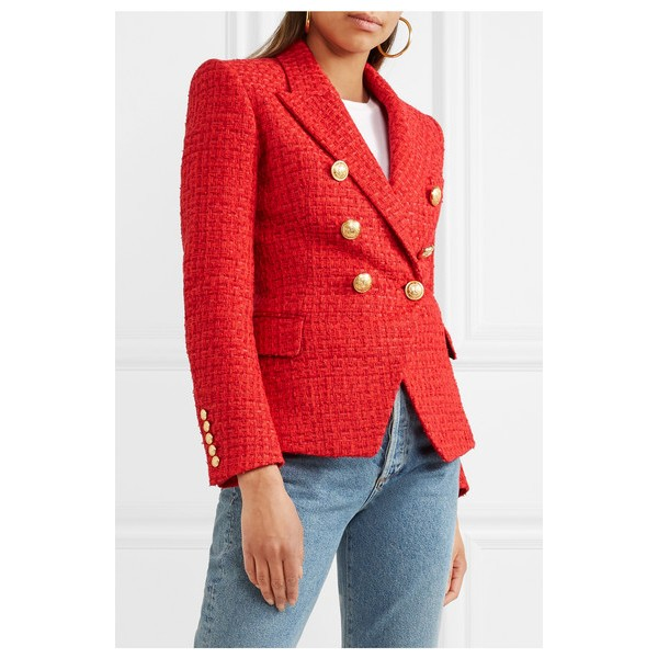 Women's Coral Red Double-breasted Fashion Blazer image 1