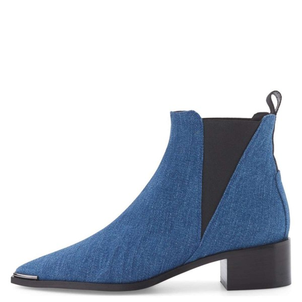 Blue Denim Chelsea Boots Pointy Toe Slip-on Chunky Heel Ankle Boots image 3