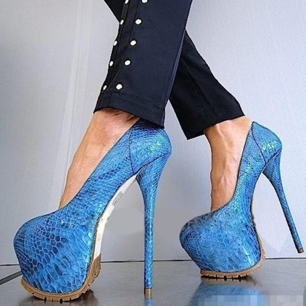 Blue Stripper Heels Python Platform Pumps Super High Heel Shoes image 1