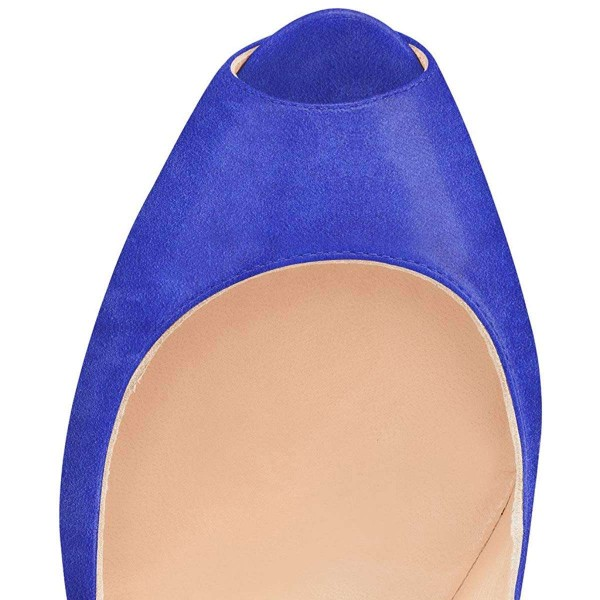 Blue Suede Peep Toe Platform Mary Jane Stripper Heels image 4