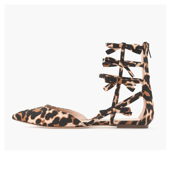 Women's Bow Lace Up Leopard Print Flats Gladiator Sandals by FSJ Shoes image 1