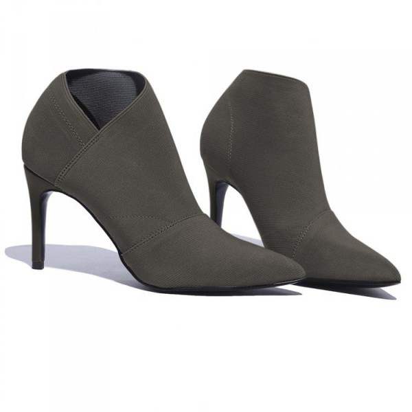Grey Fall Boots Pointy Toe Stiletto Heel Vintage Ankle Booties image 2