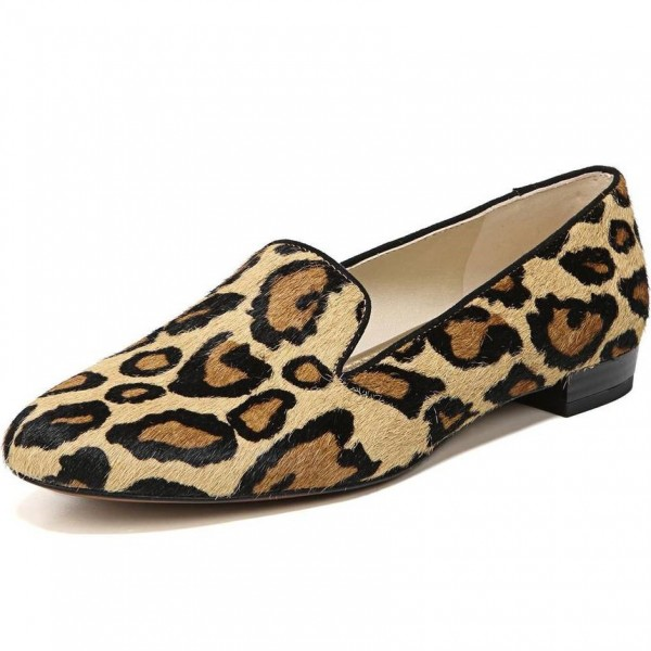 Brown Horsehair Leopard Print Loafers for Women image 1