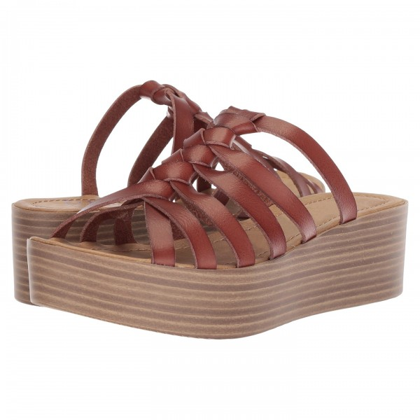 Tan Wedges Platform Women's Slide Sandals image 1