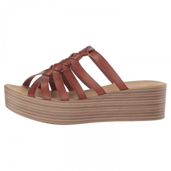 Tan Wedges Platform Women's Slide Sandals image 3