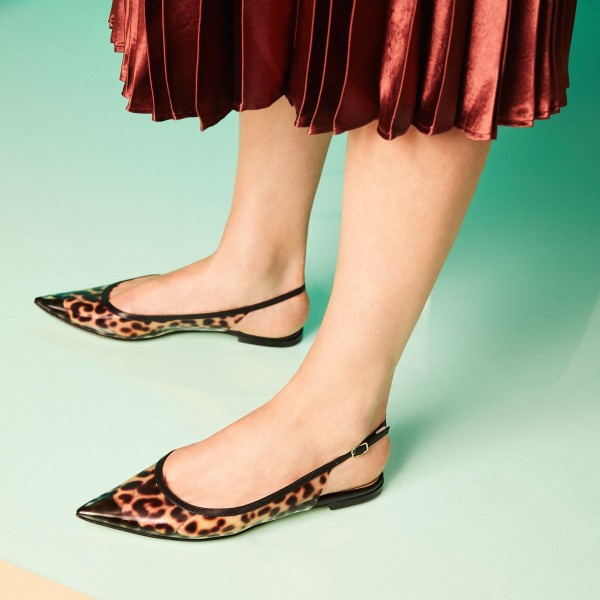 Brown Slingback Leopard Print Shoes Pointed Toe Flats image 1