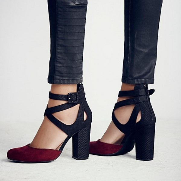 da33e4a8a84 ... Women s Burgundy and Black Chunky Heels Pointy Toe Ankle Strap Pumps  image ...