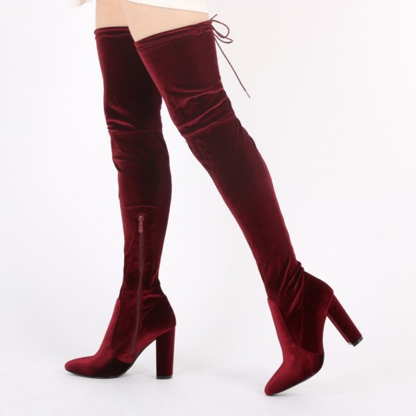 Burgundy Velvet Boots Closed Toe Chunky Heel Thigh High Boots image 1