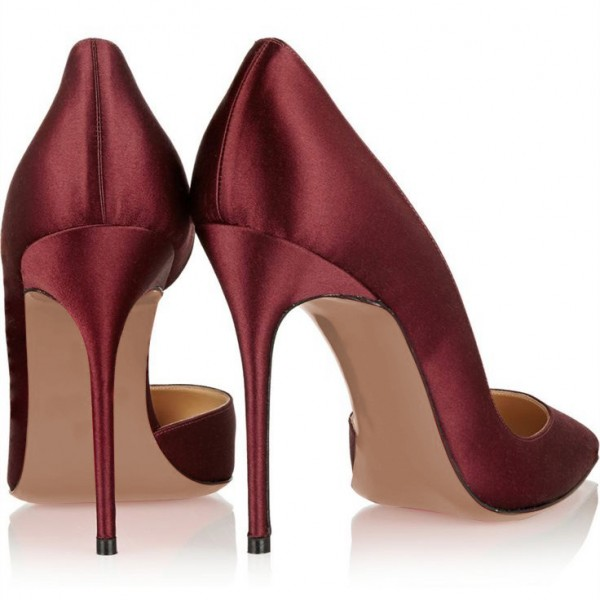 Burgundy Heels Pointy Toe Stiletto Heel Satin D'orsay Pumps  image 2