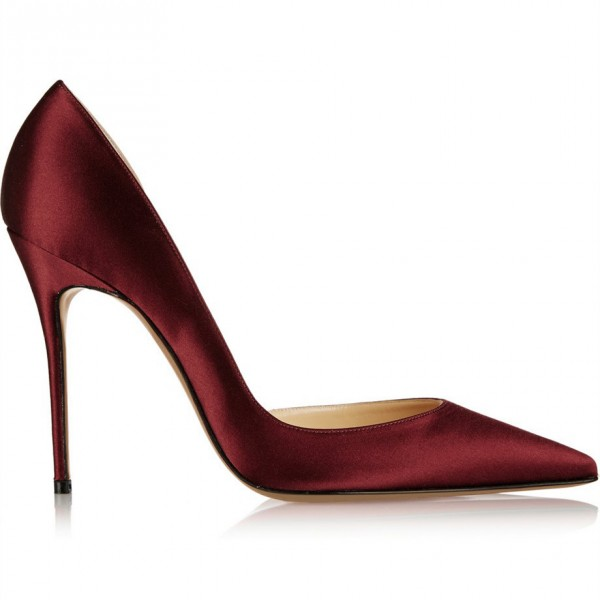 Burgundy Heels Pointy Toe Stiletto Heel Satin D'orsay Pumps  image 4
