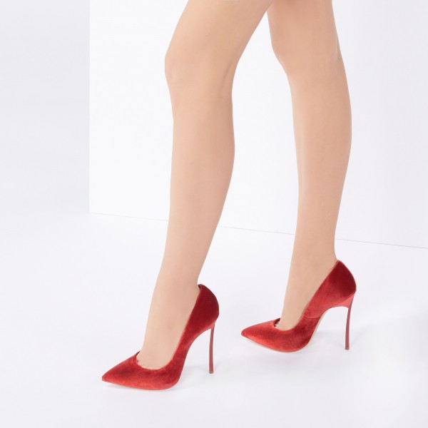 Burgundy Velvet Heels Pointy Toe Stiletto Heels Pumps for Women image 3