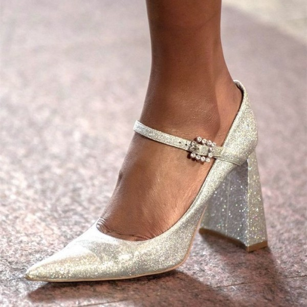 Champagne Glitter Shoes Chunky Heel Mary Jane Pumps image 1