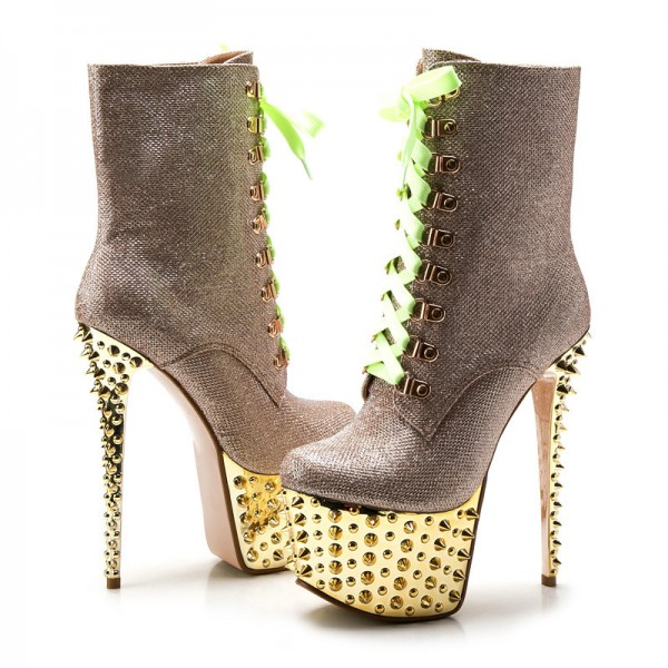 Gold and Champagne Rivets Stripper Shoes Platform Lace Up Ankle Boots image 5