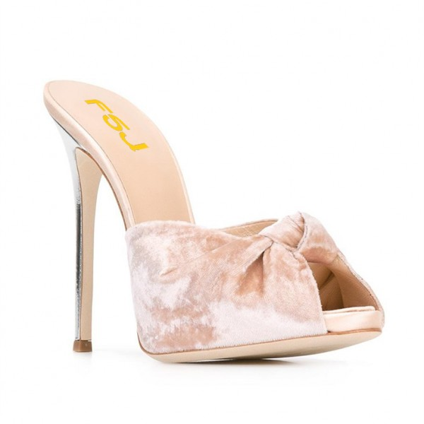 Blush Velvet Mule Heels Peep Toe Bow Stiletto Heels for Office Lady image 2