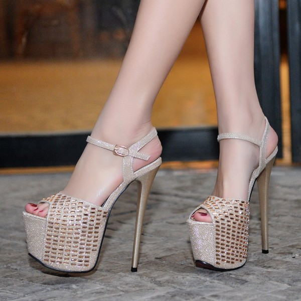 Champagne Sexy Shoes Peep Toe Sparkly Stiletto Heel Platform Sandals image 1