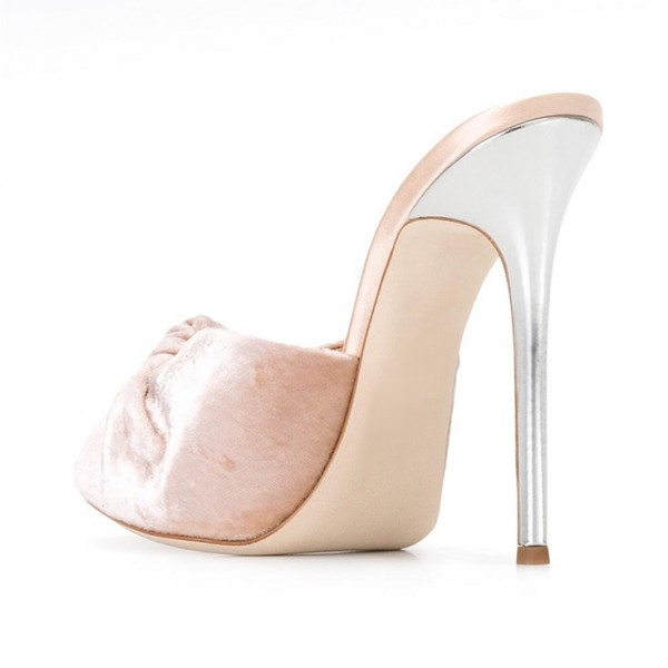 Blush Velvet Mule Heels Peep Toe Bow Stiletto Heels for Office Lady image 3