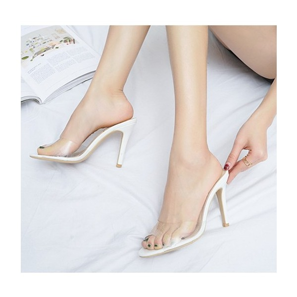 White and Clear Mule Heels Peep Toe Stiletto Heels US Size 3-15 image 1