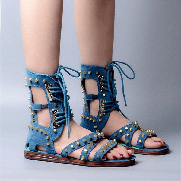 Blue Lace Up Studded Sandals Open Toe Strappy Sandals image 4