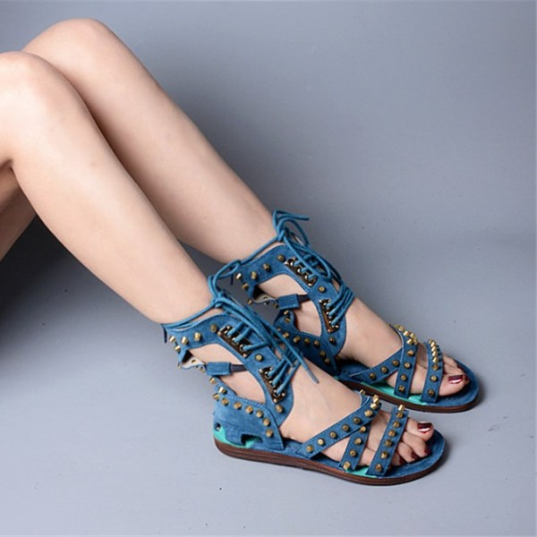 Blue Lace Up Studded Sandals Open Toe Strappy Sandals image 5