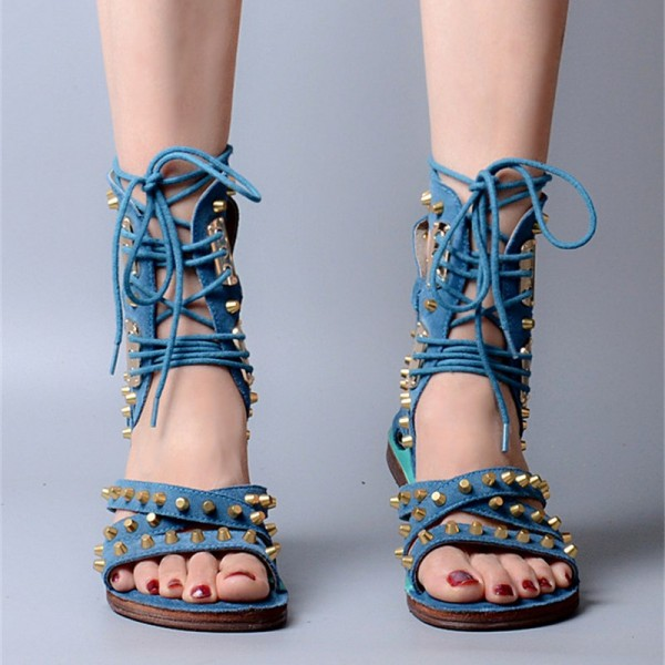 Blue Lace Up Studded Sandals Open Toe Strappy Sandals image 3