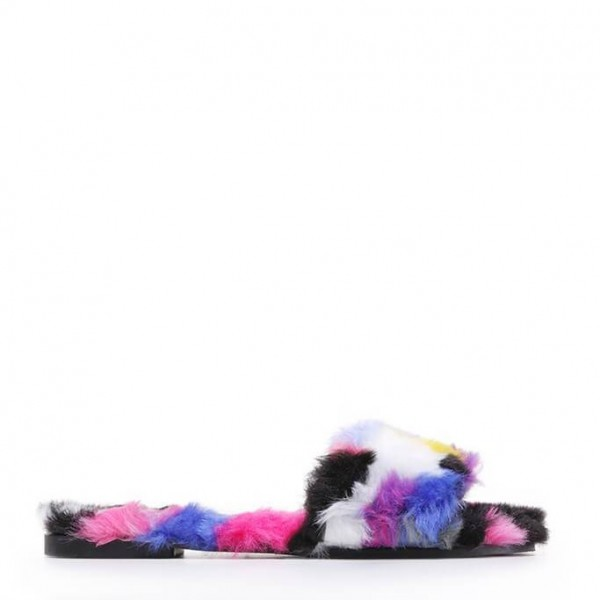 Colorful Furry Women's Slide Sandals Open Toe Flats US Size 3-15 image 5