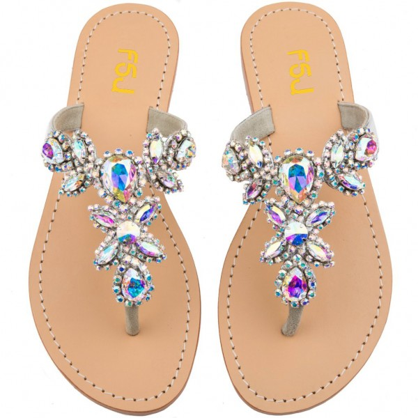 Colorful Jeweled Sandals Flat Summer