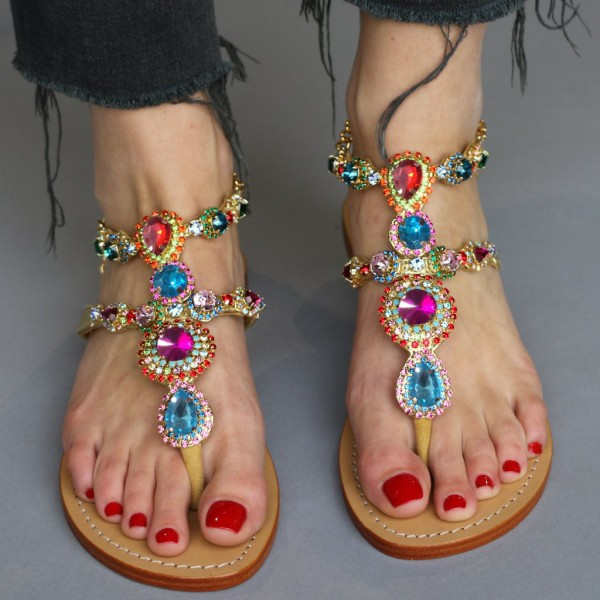 Colorful Jeweled Sandals Summer Rhinestone Flat Thong Sandals  image 1