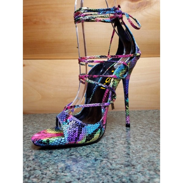 Multi-color Strappy Sandals Lace up Stiletto Heel Sexy Shoes image 5