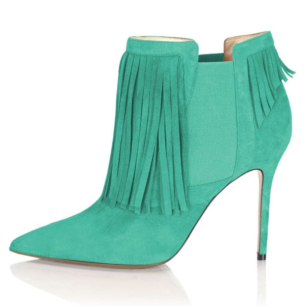 Cyan Suede Fringe Boots Stiletto Heel Chelsea Boots image 3