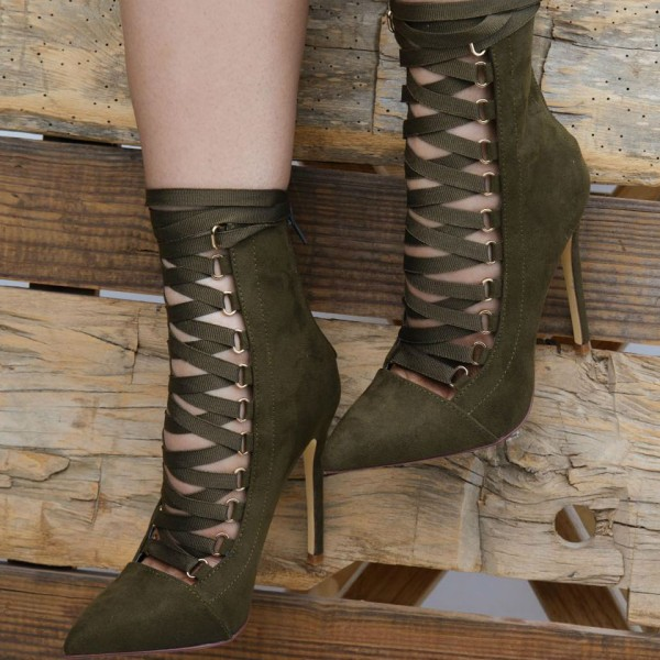 510e2ffae854 ... Olive Green Ankle Booties Suede Stiletto Heels Lace up Boots image 4 ...