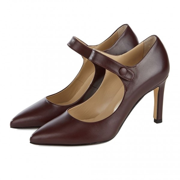Dark Maroon Pointy Toe Mary Jane Pumps Vintage Style Office Shoes image 1